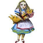 Lark Rise Designs Wooden Clock 壁掛け時計 /ふしぎの国のアリス Alice with Pig